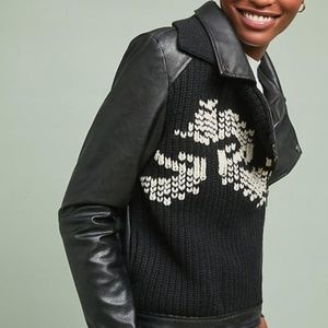 Anthro Ett Twa Sweater Moto Jacket Vegan Leather